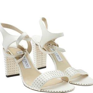 Jimmy Choo Ivory Embellished Sandals Size 38 1/2
